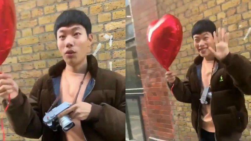 柳俊烈在情人节被YouTuber「恶搞表白」,接过气球一脸发懵XD