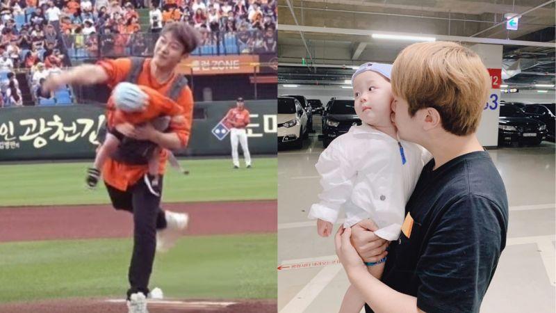 FT Island崔敏焕背著儿子开球,投球的瞬间赞儿的头被甩了一大下!引发网友指责:「真的太危险了!」