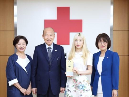 泰妍向红十字会捐献1亿韩元 成为高额捐款者俱乐部(RCHC)会员